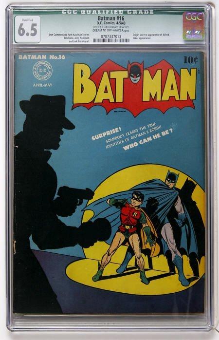 43017: Batman #16 (DC, 1943) CGC Qualified FN+ 6.5