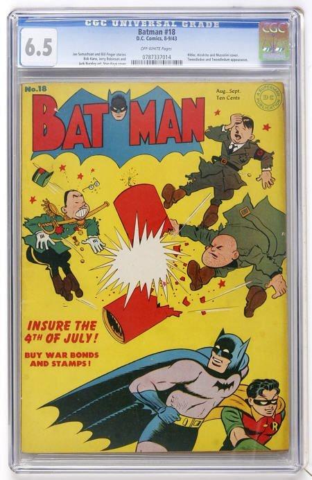 43019: Batman #18 (DC, 1943) CGC FN+ 6.5 Off-white