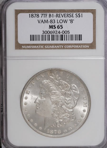 2425: 1878 7TF $1 Reverse of 1878 MS65 NGC.