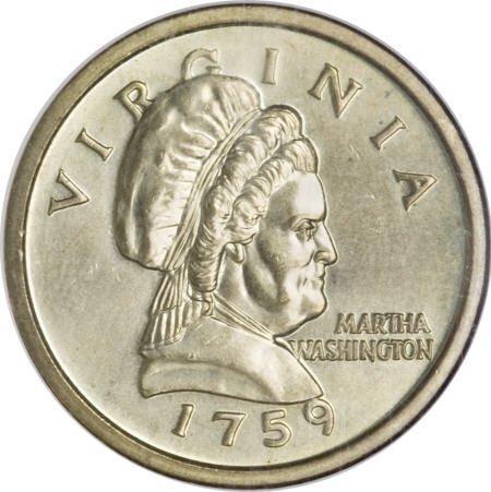 """2904: """"1759"""" Martha Washington $1 Golden Dollar Test"""