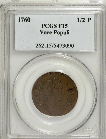 7015: 1760 1/2P Hibernia-Voce Populi Halfpenny F15 PCGS