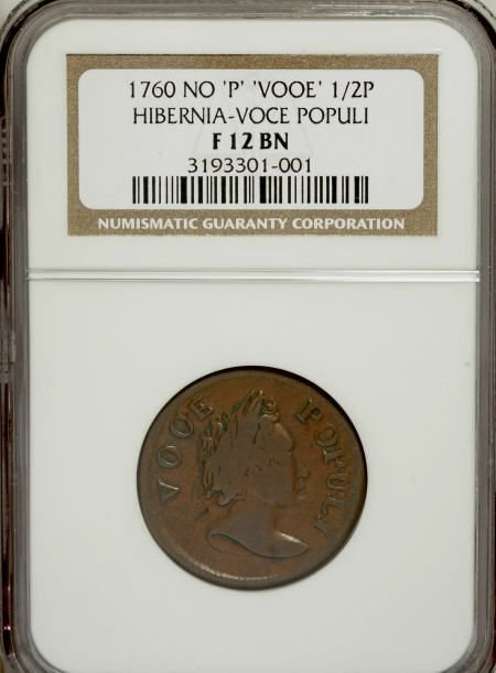 7018: 1760 1/2P Hibernia-Voce Populi Halfpenny, VOOE PO