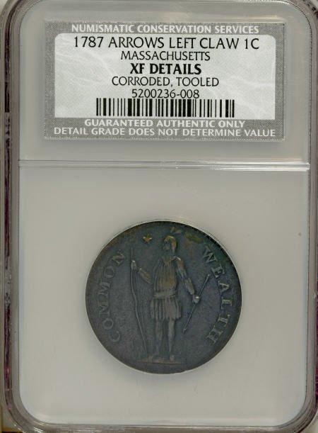 7019: 1787 1C Massachusetts Cent, Arrows in Left Talon-