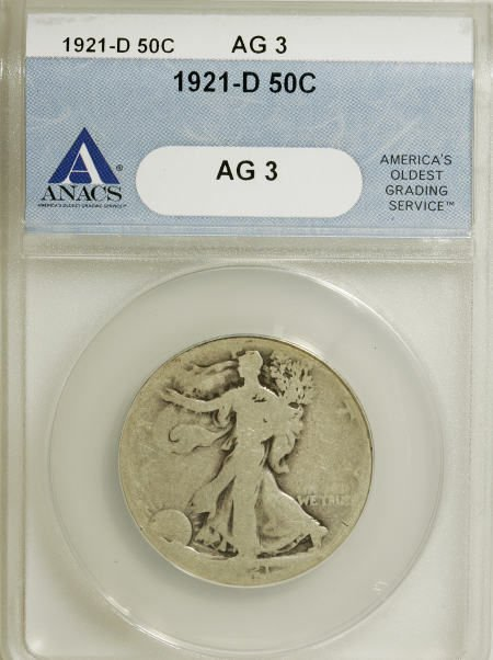 8758: 1921-D 50C AG3 ANACS. NGC Census: (8/475). PCGS P