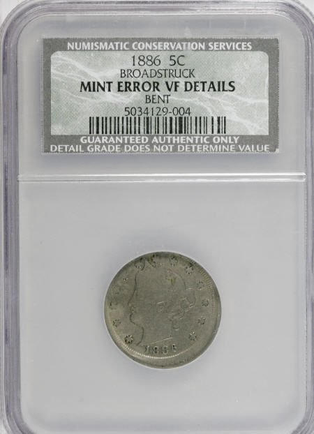 11384: 1886 5C Broadstruck--Bent--NCS. VF Detail.