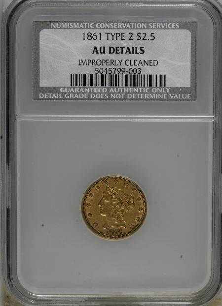 10000: 1861 $2 1/2 New Reverse, Type Two--Improperly Cl