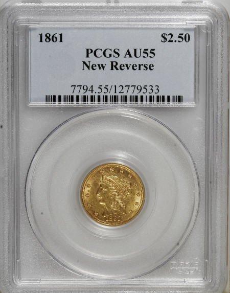 10003: 1861 $2 1/2 New Reverse, Type Two AU55 PCGS. PCG