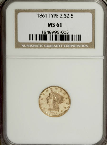 10004: 1861 $2 1/2 New Reverse, Type Two MS61 NGC. NGC