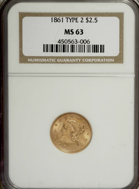 10005: 1861 $2 1/2 New Reverse, Type Two MS63 NGC. NGC