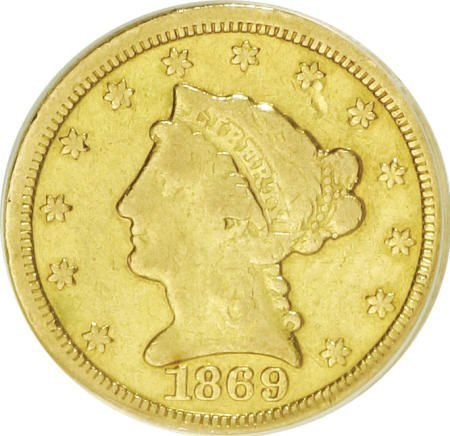 10006: 1869-S $2 1/2--Cleaned--ANACS. Fine 12 Details.