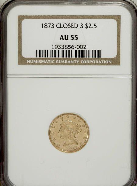 10009: 1873 $2 1/2 Closed 3 AU55 NGC. NGC Census: (22/3