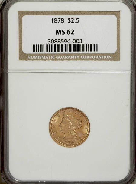 10013: 1878 $2 1/2 MS62 NGC. NGC Census: (448/381). PCG