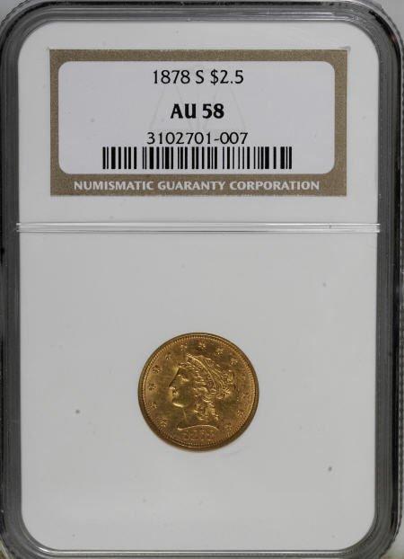 10014: 1878-S $2 1/2 AU58 NGC. NGC Census: (125/280). P