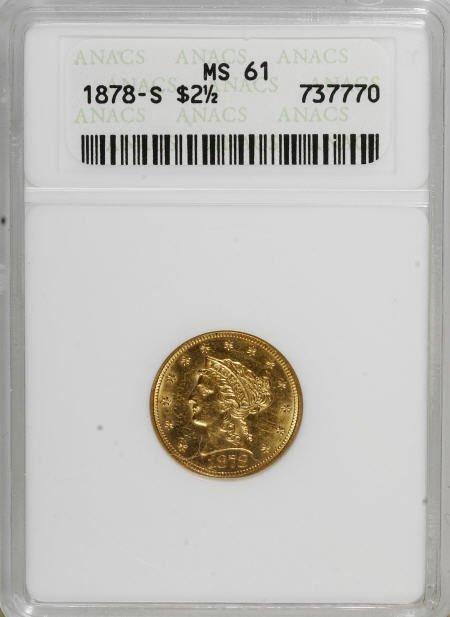 10015: 1878-S $2 1/2 MS61 ANACS. NGC Census: (104/152).
