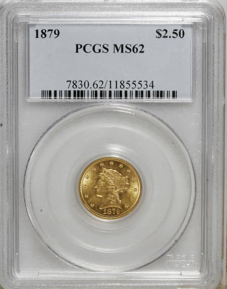 10017: 1879 $2 1/2 MS62 PCGS. PCGS Population (119/147)