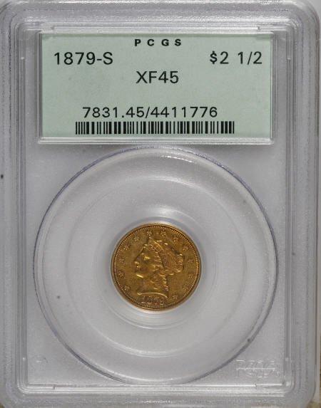 10018: 1879-S $2 1/2 XF45 PCGS. PCGS Population (18/46)