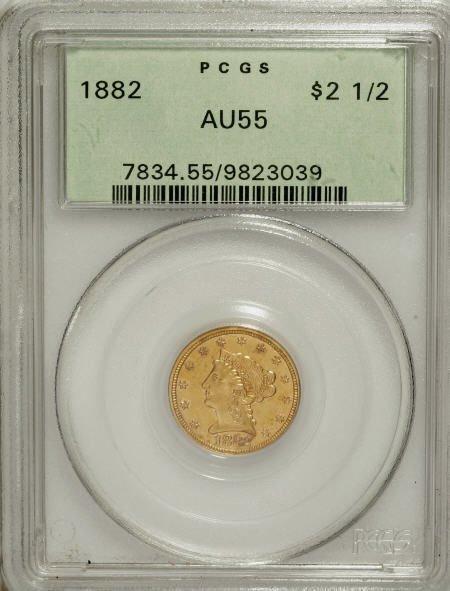10019: 1882 $2 1/2 AU55 PCGS. PCGS Population (17/82).