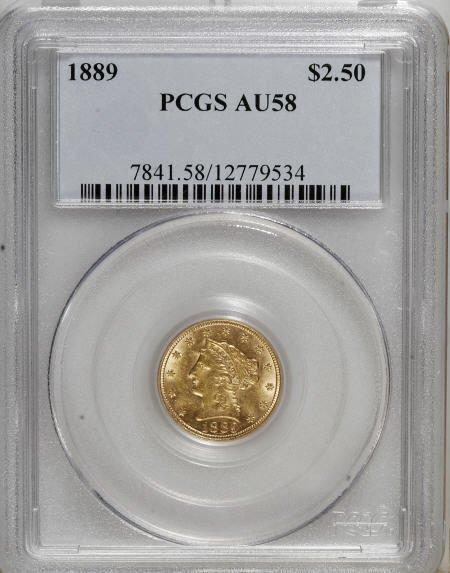 10020: 1889 $2 1/2 AU58 PCGS. PCGS Population (38/185).