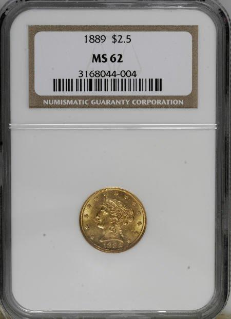 10021: 1889 $2 1/2 MS62 NGC. NGC Census: (78/101). PCGS