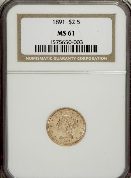 10022: 1891 $2 1/2 MS61 NGC. NGC Census: (37/127). PCGS