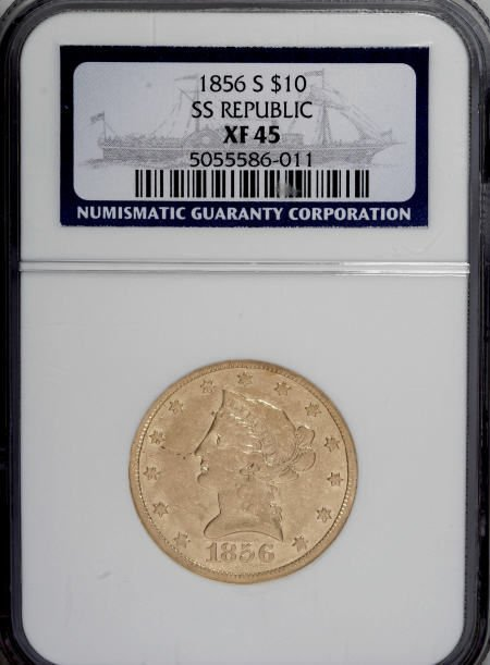 10344: 1856-S $10 XF45 NGC. Ex: S.S. Republic. NGC Cens