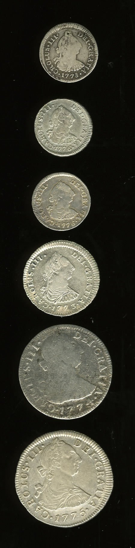 50489: Bolivia Carlos III Bust Types Selection, KM51