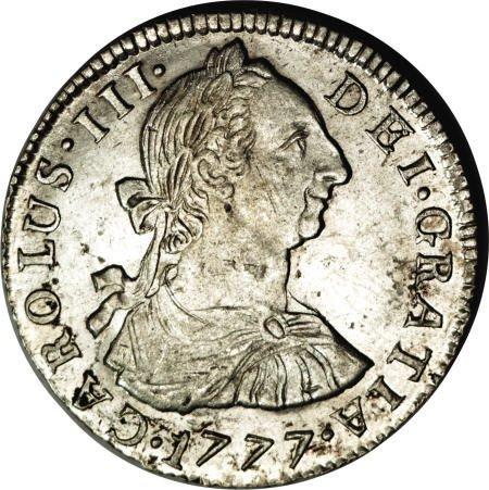 50490: Bolivia Carlos III 2 Reales 1777-PR, KM53, nice