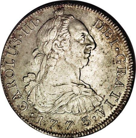 50493: Bolivia Carlos III 8 Reales 1773-JR, KM55,