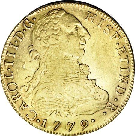 50504: Bolivia Carlos III gold 8 Escudos 1779-PR, KM59,