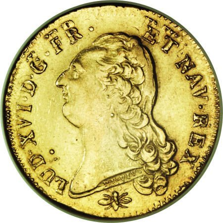 51366: France Louis XVI gold 2 Louis d'Or 1787-D Mint
