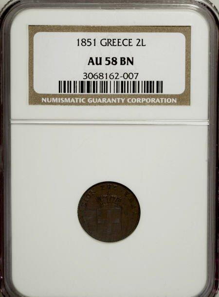 51917: Greece Othon 2 lepta 1851, KM31, AU58 BN NGC,