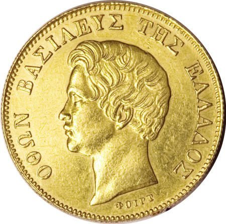51922: Greece Othon gold 20 Drachmai 1833, KM21, nice