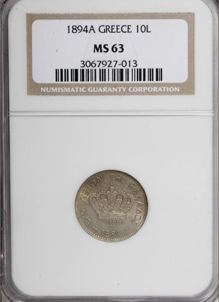 51923: Greece George I 10 Lepta 1894-A, KM59, MS63 NGC,