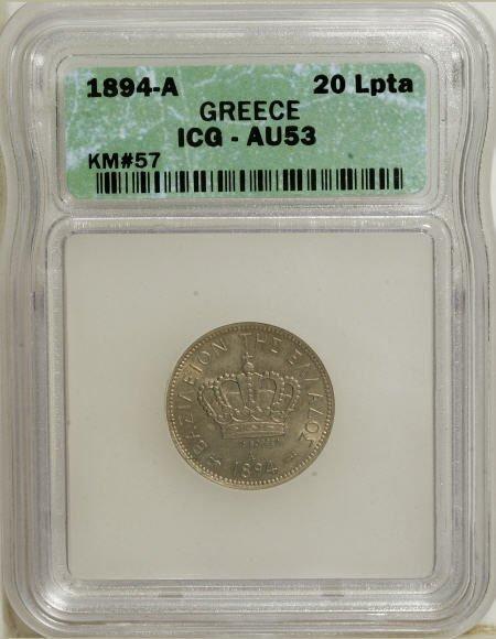 51924: Greece George I 20 Lepta 1894-A, KM57, AU53 ICG,