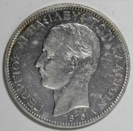 51925: Greece George I 5 Drachmai 1875-A, KM46, AU,
