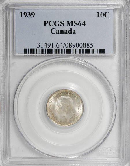 74222: Canada George VI 10 Cents 1939, KM34, MS64