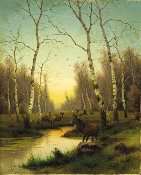 79011: EFIM A. TIKHMENEV, Oil on canvas, Forest at Dawn