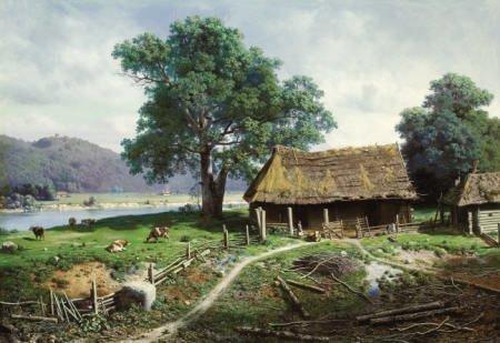 79014: MIKHAIL KLODT Riverside Farmstead, 1858 Oil on
