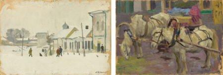 79018: ARNOLD BORISOVICH LAKHOVSKY (a pair) Horses at