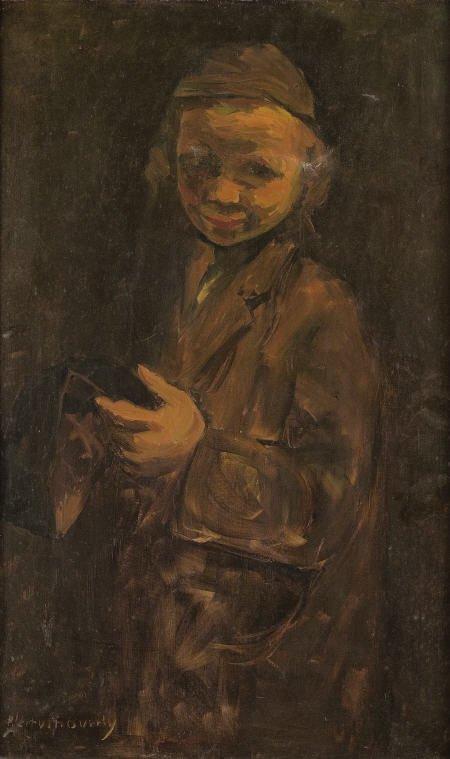 79021: PINCHAS LITVINOVSKY Hasidic Boy Oil on canvas 24