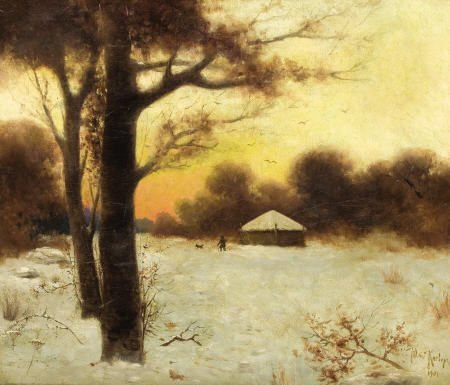 79024: YULY KLEVER Winter Cottage, 1901 Oil on panel