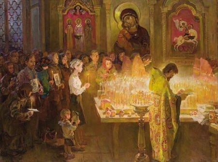 79117: VICTOR P. KUDRIN Easter Scene Oil on canvas