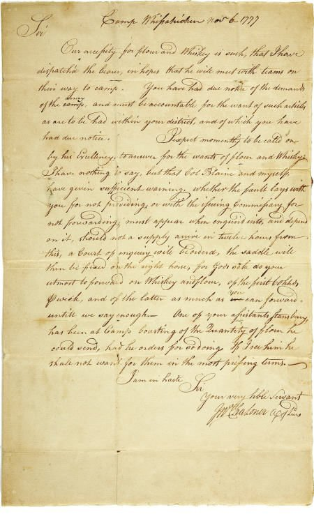 56005: Revolutionary War Request for Flour and Whisky