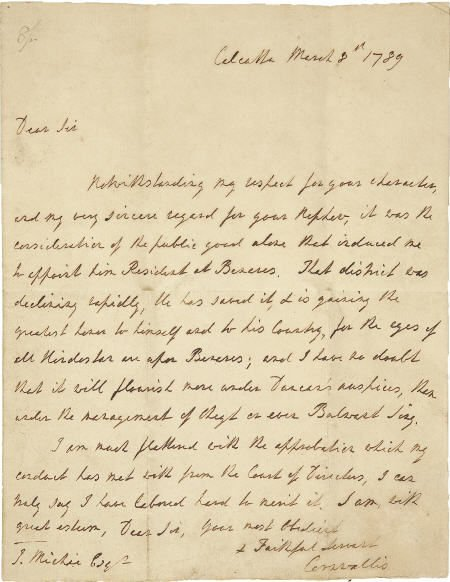 56006: Charles Cornwallis Autograph Letter Signed.