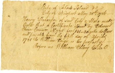 56007: William Ellery Autograph Manuscript Signed
