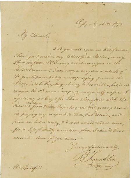 56009: Benjamin Franklin Lafayette France John Bradford