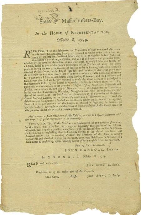 56013: (John Hancock) Revolutionary War Broadside,