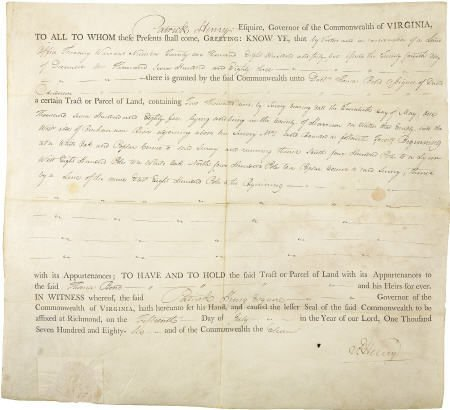 56015: Patrick Henry Document Signed as Governor.