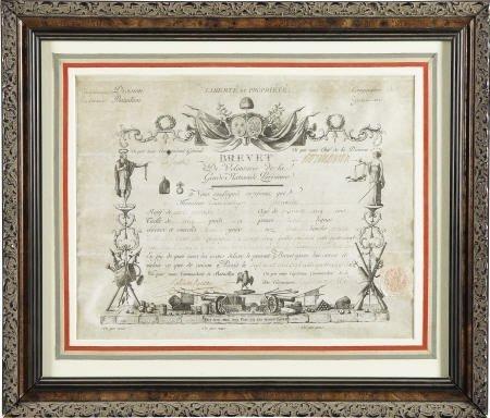 56017: Brevet Certificate Signed by General Lafayette