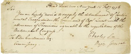 56018: Letter Signed by Major General Charles Lee